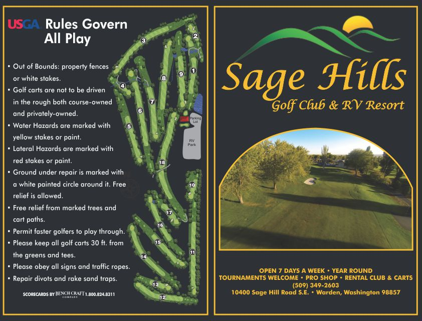Sage Hills Golf Club RV Resort Scorecard By Bench Craft Company 2